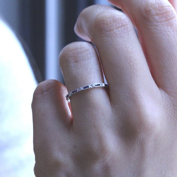 Vintage french baguettes wedding ring OroSpot