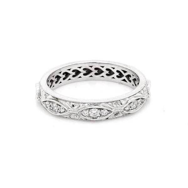 Vintage hand Engraved Diamond Eternity Wedding Ring