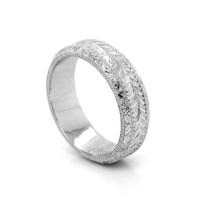 Vintage hand carved wedding band for guys
