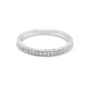 Vintage hand engraved diamond pave wedding band 2mm