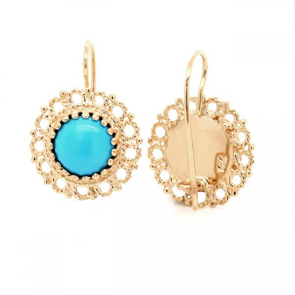 Vintage style turquoise round gold earrings OroSpot