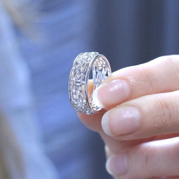 yoga meditation lotus wedding ring