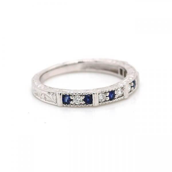 antique engraved alternating sapphire and diamond ban OroSpot
