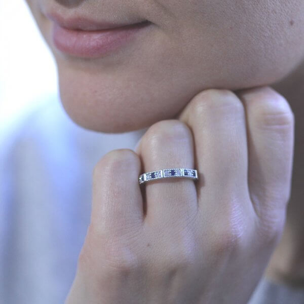 blue sapphire and dimaond carved ast deco band