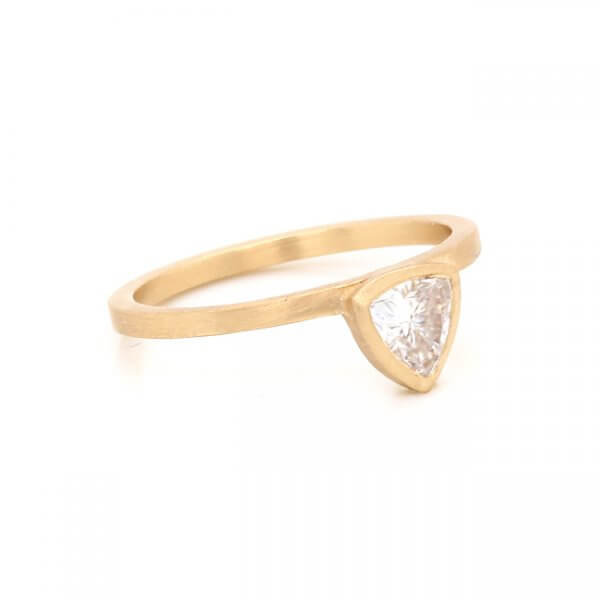 minimalist gold engagement ring