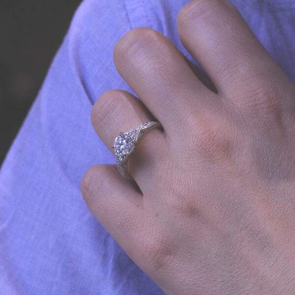 old Cut Moissanite Hand Engraved Antique Ring