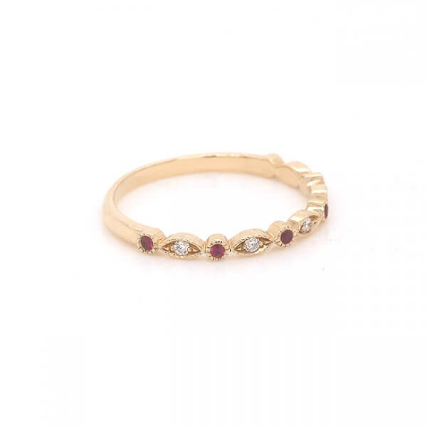 pave and bezel set rubies and diamond wedding ring OroSpot