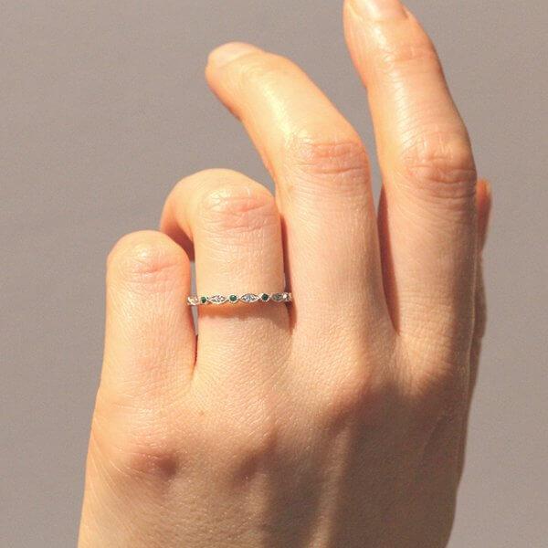 round emralds and diamonds stack thin wedding ring