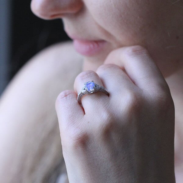 round moonstone vintage hand carved engagement ring