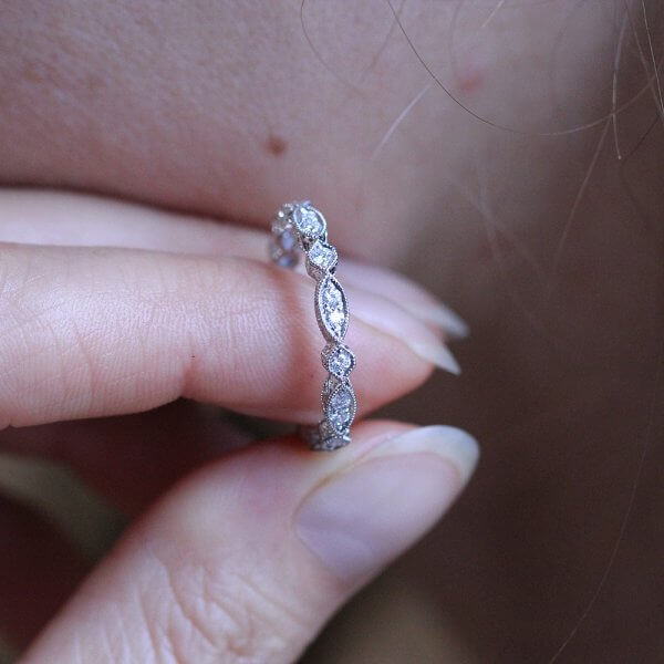 stackable diamond eternity band art deco