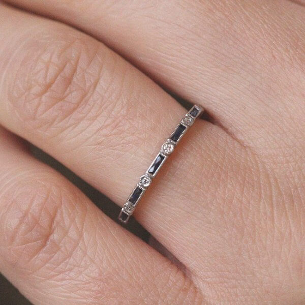 super skinny sapphire and diamond wedding band stackable