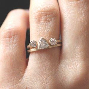 trillion simple modern moissanite gold engagement ring
