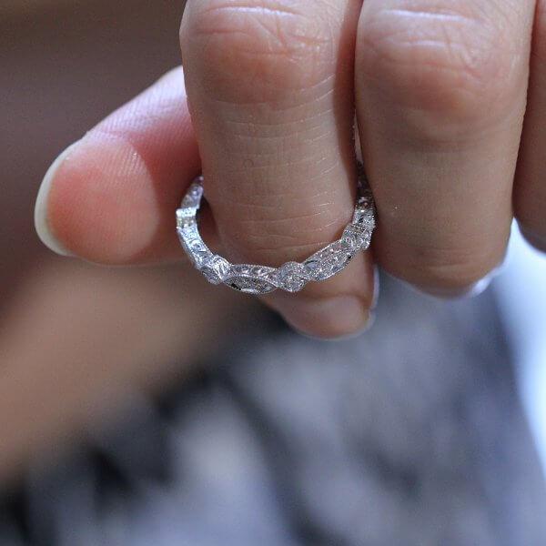 unique hand engraved diamond band