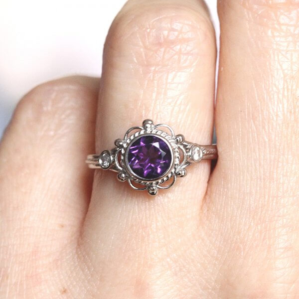unique vistorian engagement ring with amethyst