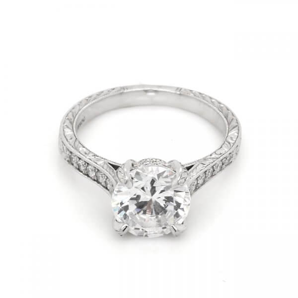 Antique inspired etched and milgrain Moissanite engagment ring with diamonds