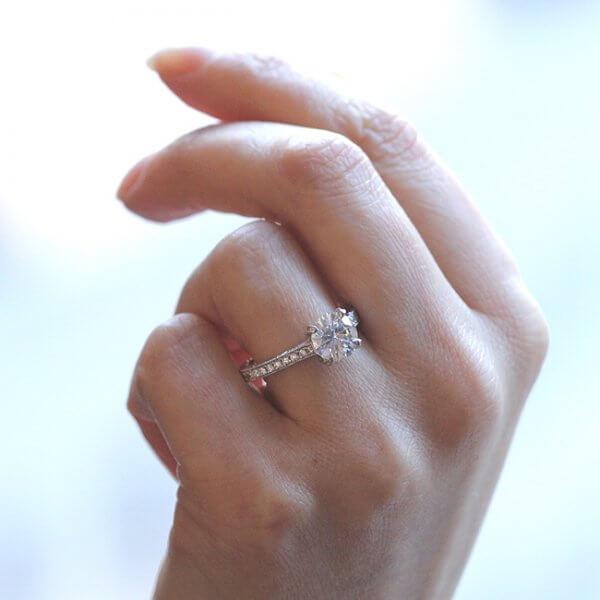 Forever One Moissanite Engraved engagement ring