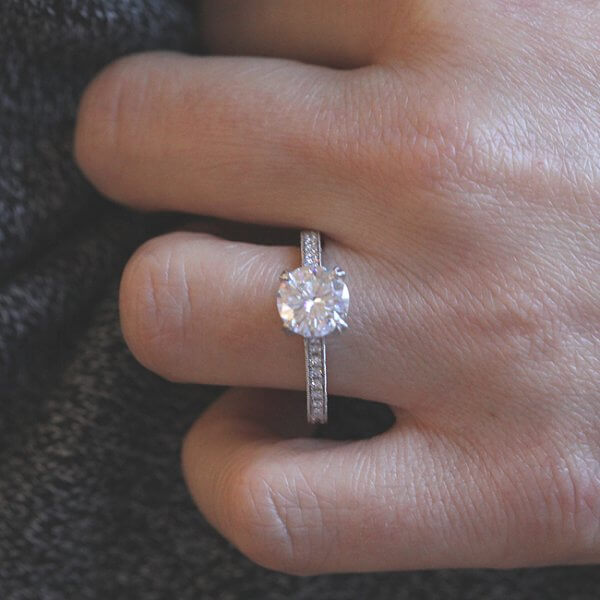 Hand carved engagement ring with Moissanite