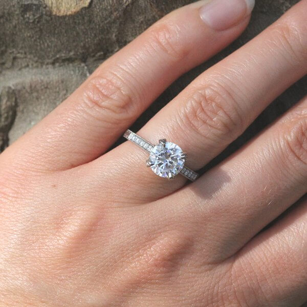 Hand etched vintage inspired engagment ring with Moissanite by OroSpot