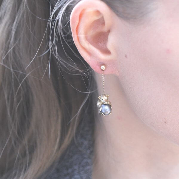 Natural bear pearl drop earrings