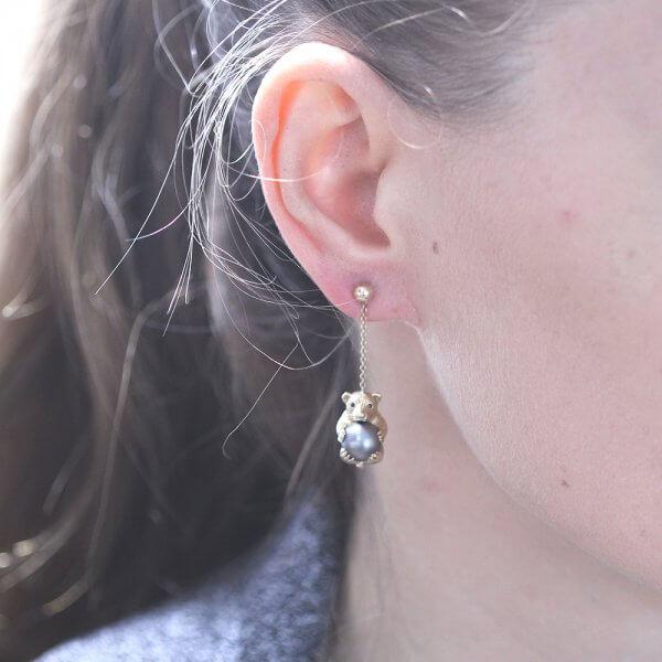 Teddy Bear Diamond Earrings with Pearl