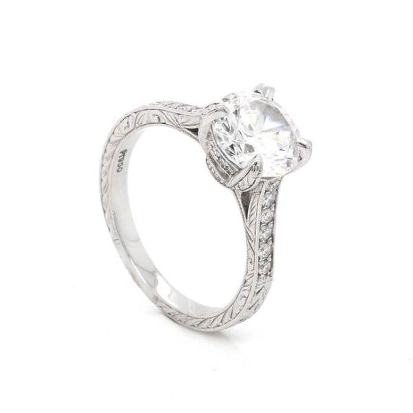 Vintage Engraved 8mm Forever One Moissanite Engagement Ring OroSpot