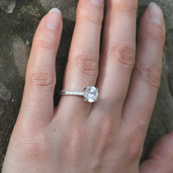 Vintage round Moissanite hand carved engagement ring