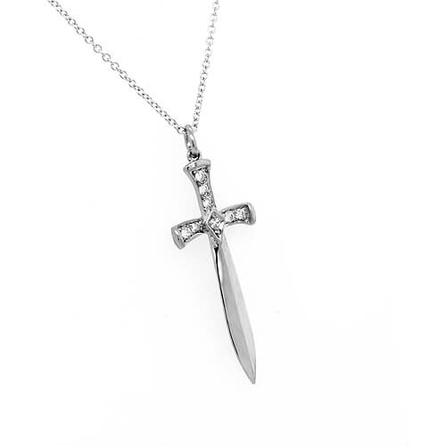 3D Sword Dagger Necklace with Diamonds OroSpot
