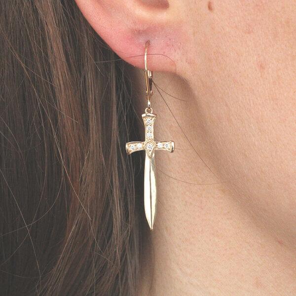 3D Sword Gold Diamond Lower Back Earrings