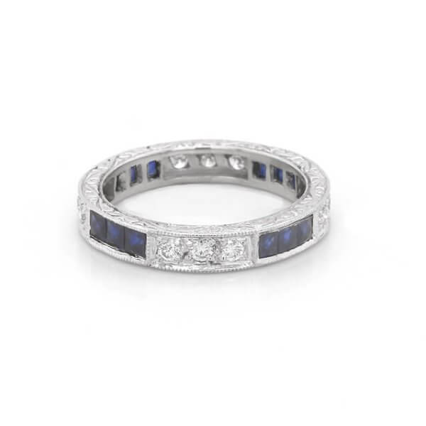 Art Deco Vintage Sapphire and Diamond Band OroSpot