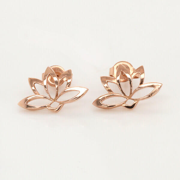 Gold Lotus Earrings in solid gold OroSpot