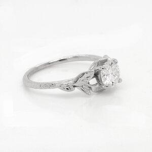 Lab Diamond Leaf Engraved Ring