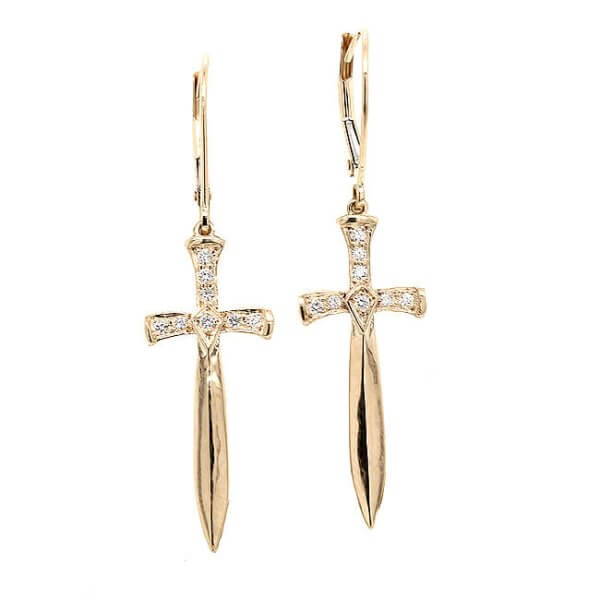 Sword Diamond Earrings 14k Gold OroSpot