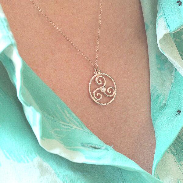 Triskelion triple spiral celtic symbol necklace