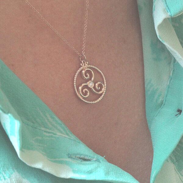 three-legged Triskele diamond necklace by OroSpot