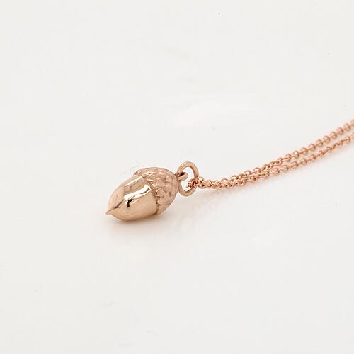 3D Acorn charm pendant 14k gold OroSpot
