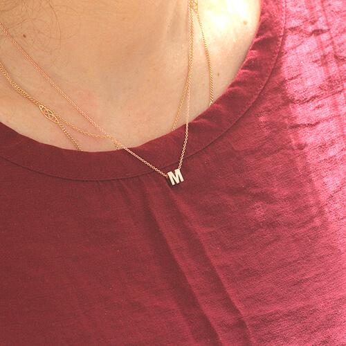 Alphabet letter M gold charm pendant by OroSpot