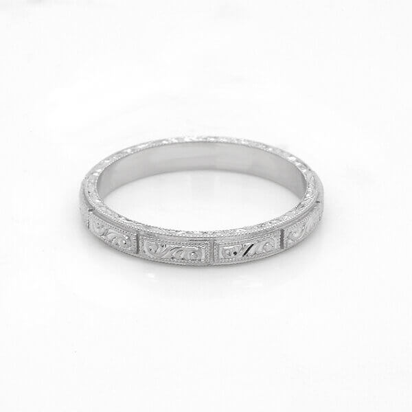 Art Deco Engraed wedding band OroSpot