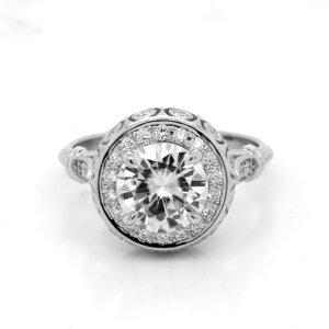 Ball Vintage Diamond Moissanite Halo Ring