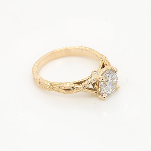 Braided Hand Carved Forever one Moissanite Ring by OroSpot