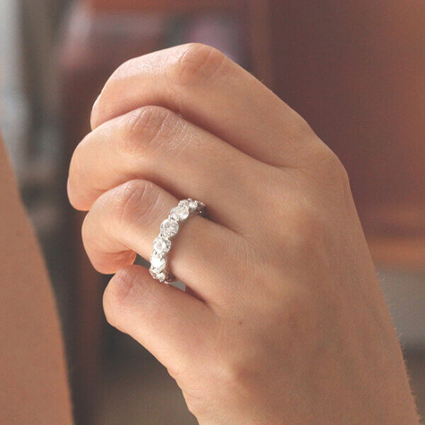 Classic round Moissanite eternity band by OroSpot