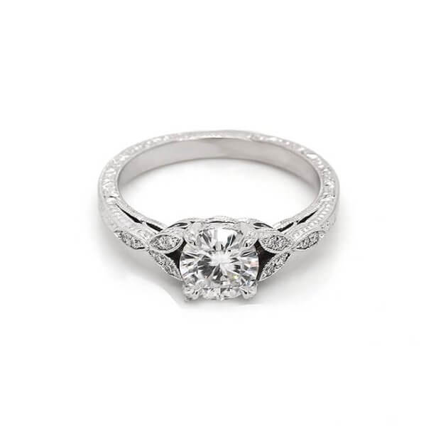 Edwardian style engraved engagement ring with moissanite by OroSpot