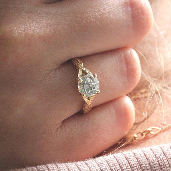 Elegant vintage Moissanite Engagement Ring
