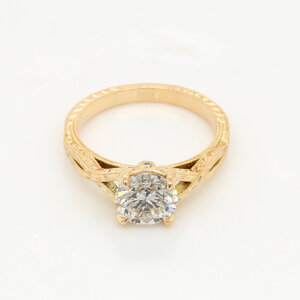 Engraved Antique Style promise Ring OroSpot