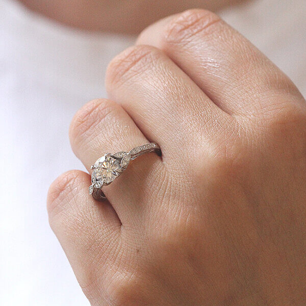 Engraved Floral engagement ring with forever one moissanite in gold by OroSpot
