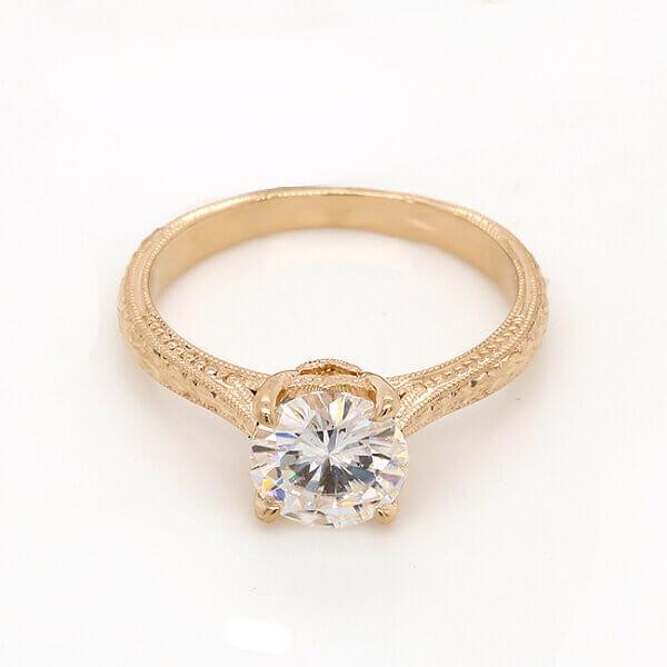 Forever One Moissanite Antique Promise Ring OroSpot
