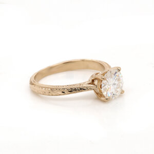 Hand carved vintage round Moissanite Ring OroSpot