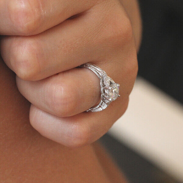 Hand etched filigree vintage engagement ring with Moissanite