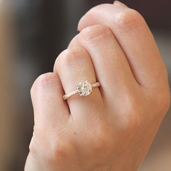 Hand etched vintage inspired engagement ring OroSpot