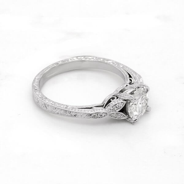 Leaf, floral hand engraved engagement ring with moissanite by OroSpot