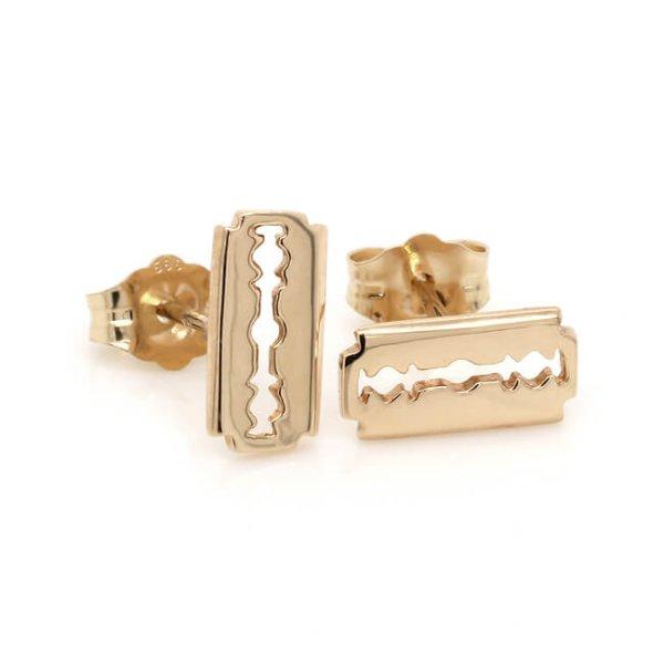 Razor blade earrings solid 14k gold OroSpot